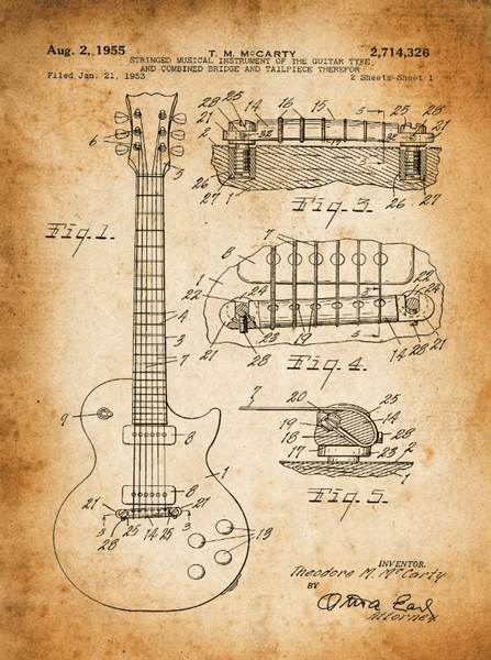 Gibson Guitar Patent Print Art on Canvas - Canvas Wall Art - HolyCowCanvas