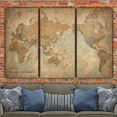 Vintage Map with Countries on Canvas - Canvas Wall Art - HolyCowCanvas