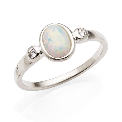Sterling Silver Created Opal & Cubic Zirconia Ring