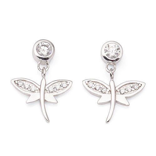 Sterling Silver Cubic Zirconia Dragonfly Studs