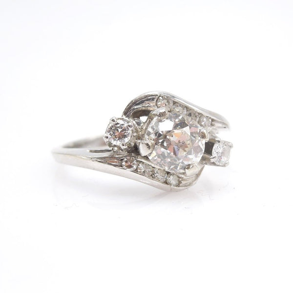 Antique Engagement 1.01 ct Old Mine Cut in 14K White Gold Bypass Ring