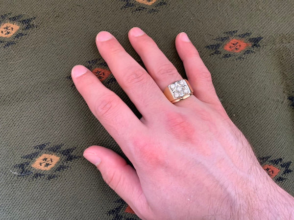 Oversize Man's Square Diamond Cluster Ring in 14K Yellow Gold