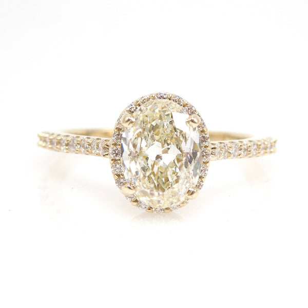 1.50ct Oval Diamond with Halo and Accent Diamonds - Engagement Ring