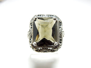Cushion Cut Green Tourmaline in Filigreed Victorian Style Silver Mounting