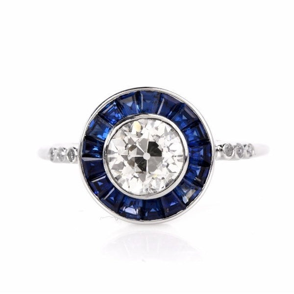 1.03 ct Old European Cut Diamond with Sapphire Halo in Platinum - Art Deco Style