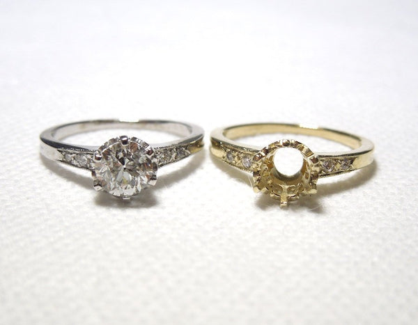 CUSTOM ORDER: Perfect Three Quarter Carat Edwardian Style Solitaire Mounting - 14K White Gold or Yellow Gold & Diamond
