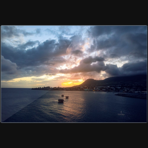 Saint Kitts Ocean Sunset - Art photograph on metal print wall art