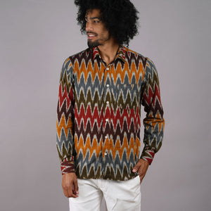 Chainstitch Shirt Handwoven Static Wave Ikat