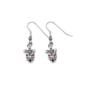 MINI PITBULL EARRINGS ON HOOK w/ RUBY EYES