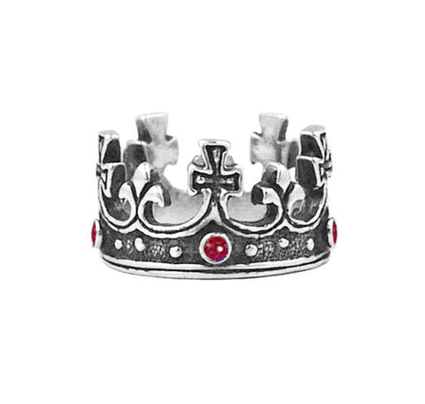 LARGE REGAL CROWN RING w/ RUBIES OR SAPPHIRES