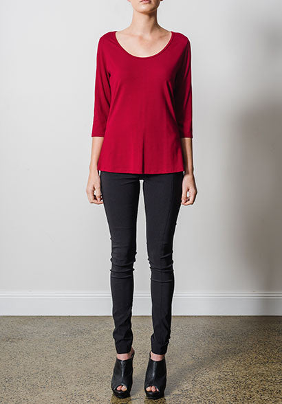 Yvette 3/4 top ruby | Eco-Friendly Bamboo Tops | Sustainable Fashion