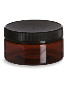 Amber PET Heavywall 8oz Plastic Jar w/ Black Lid, , Golden's Naturals - Golden's Naturals = quality essential oils at affordable prices