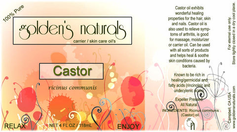 Castor Oil, Carrier Oil, Golden's Naturals - Golden's Naturals = quality essential oils at affordable prices