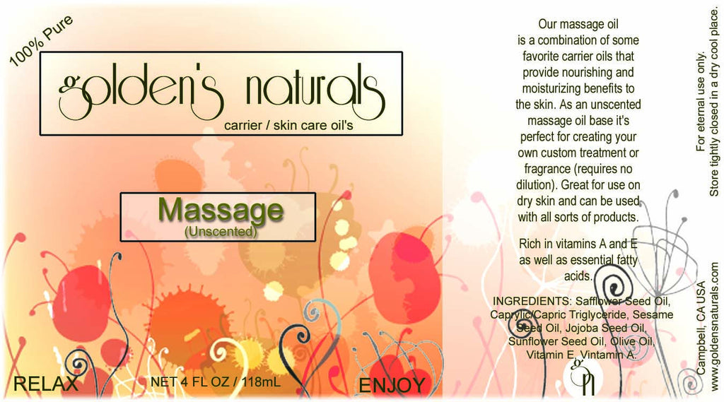 Massage Oil (Unscented), Massage Oil, Golden's Naturals - Golden's Naturals = quality essential oils at affordable prices