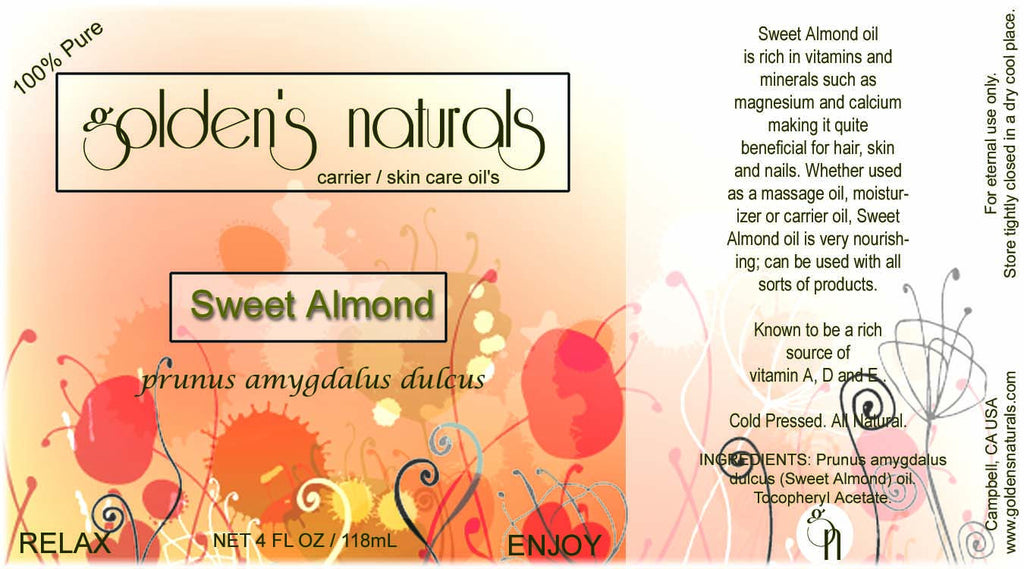 Sweet Almond Oil, Carrier Oil, Golden's Naturals - Golden's Naturals = quality essential oils at affordable prices