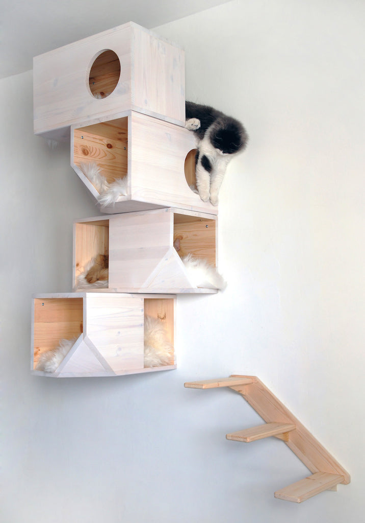 [product _vendor] Modular Cat Climbing Tower - White - STYLETAILS