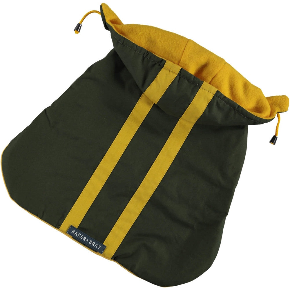 [product _vendor] Highgate Hooded Dog Coat - Olive / Yellow - STYLETAILS