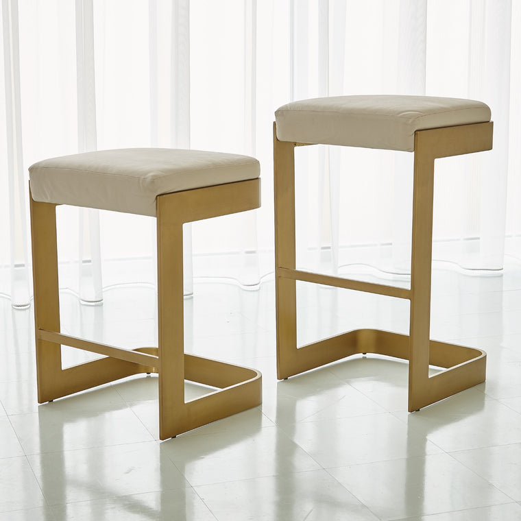 Regan Barstool / Counterstool - Antique Brass/ Ivory Leather