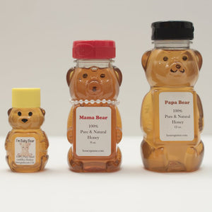 Honey filled bear family - pure raw wildflower honey