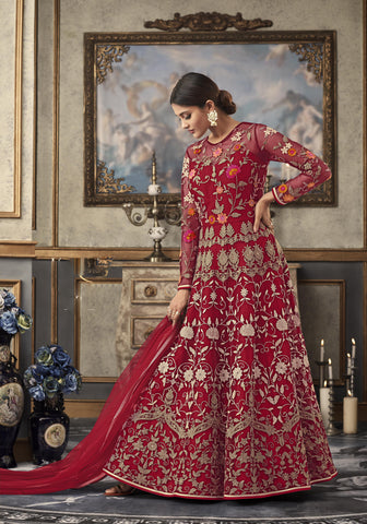 Red Net Embroidered Gown Style Indian Wedding Salwar Suit Dresses