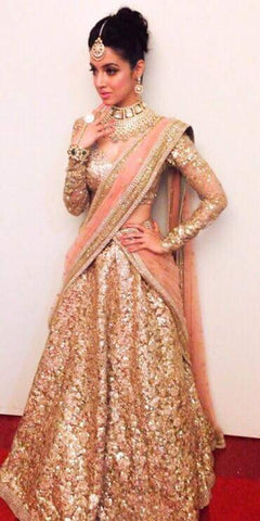 Gorgeous Gold Shimmer Net Bollywood Lehenga Choli Online ,Indian Dresses - 1