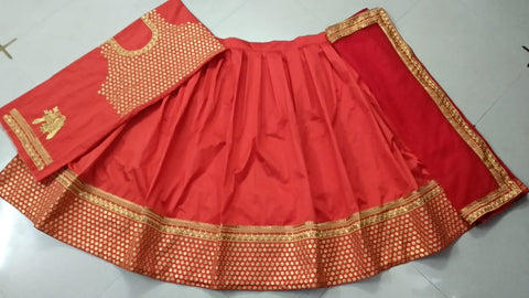 Red Taffeta Silk Embroidery Party Wear Lengha Indian Dress