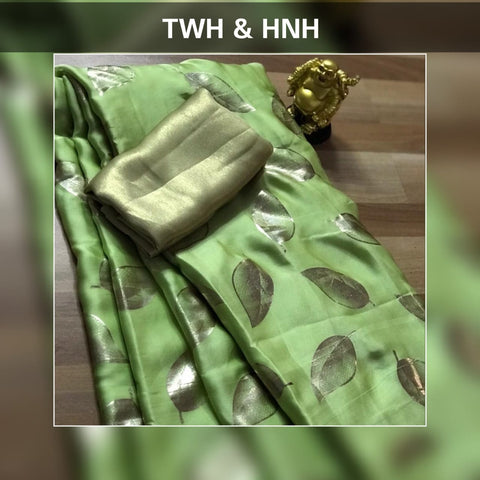 Mint Green Satin Silk Leaf Printed Fancy Sari Shopping Online