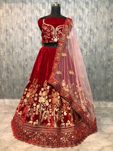 Maroon Velvet Embroidery New Indian Marriage Wear Lengha Choli Online