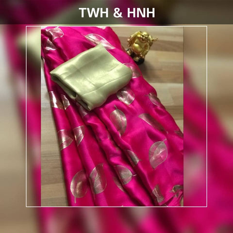 Lovely Pink Satin Silk Leaf Printed Latest Sarees Online Shopping
