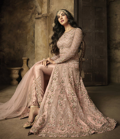 Embroidered Peach Puff Net  Front Slit Pant Style Salwar Kameez
