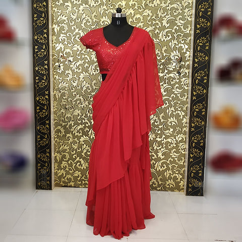 Red Georgette Ruffle Designer Saree Blouse India Online Shopping