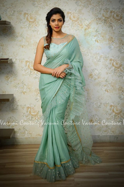 Light Sage Green Georgette Net Ruffle Saree Blouse Online Shop