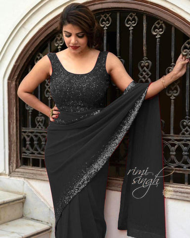 Black Georgette With Sequins Border Latest Party Saree Online
