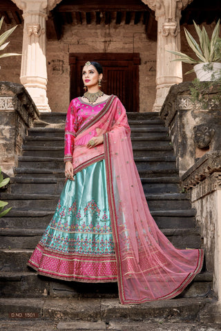 Pastel Light Blue Satin Lengha Choli Wedding Wear Online India