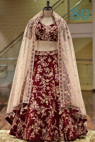 Maroon Embroidered Taffeta Silk Low Price Lengha Choli For Women