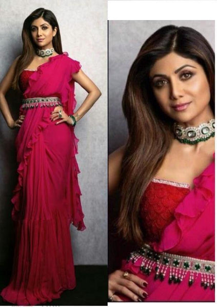 Shilpa Shetty Pink Georgette New Ruffle Saree Blouse Online Shop