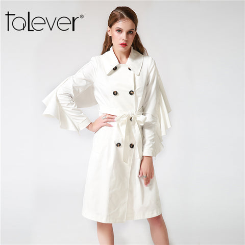 Talever 2017 Autumn Women's Trench Coat Ruffles Sleeve Slim Solid Black White Coat Long Trench Female Outerwear Plus Size