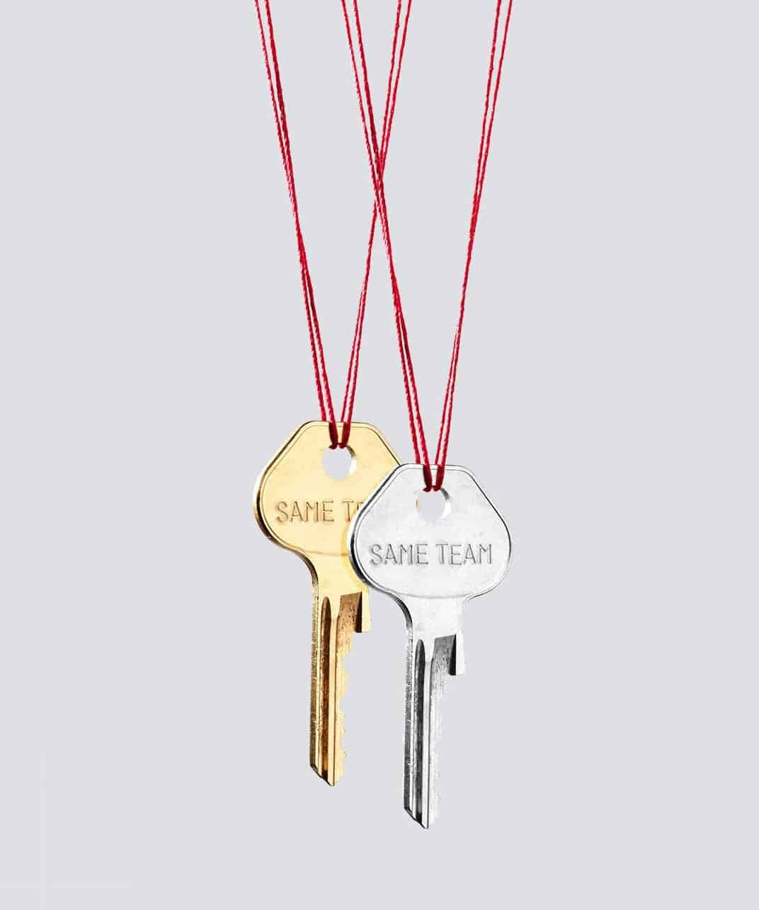 SAME TEAM Red Strand Gold & Silver Key Necklace Set Necklaces The Giving Keys SAME TEAM SILVER AND GOLD