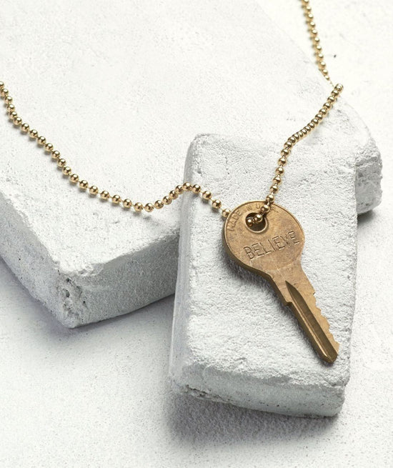 Gold Ball Chain Key Necklace Necklaces The Giving Keys BELIEVE Gold Ball