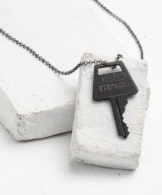 Antique Charcoal Classic Key Necklace - WITH CUSTOM HIDDEN Necklaces The Giving Keys