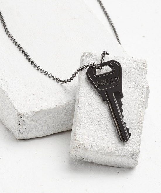 Antique Charcoal Classic Key Necklace - WITH CUSTOM HIDDEN Necklaces The Giving Keys DREAM Antique Charcoal