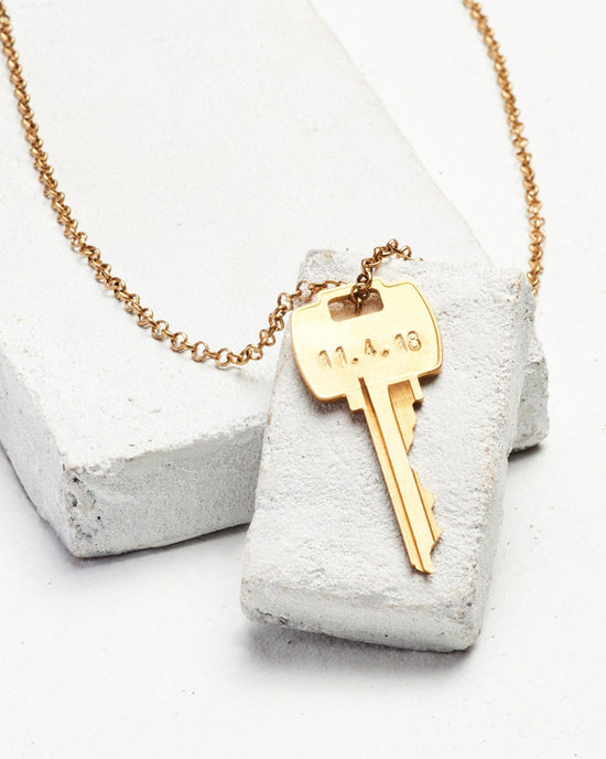 Date to Remember Classic Key Necklace Necklaces The Giving Keys CUSTOM Antique Gold