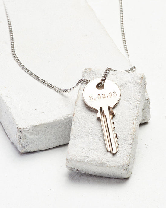Date to Remember Classic Key Necklace Necklaces The Giving Keys CUSTOM Silver