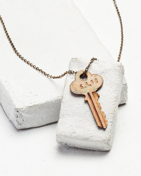 Date to Remember Classic Key Necklace Necklaces The Giving Keys LOVE Oxidized Brass