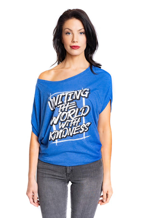 Bamboo Uniting Shoulder The World With Kindness Tee Blue Women