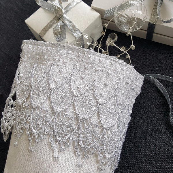 Silver Lace & Linen Stocking