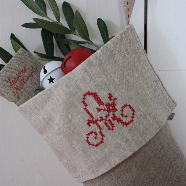 Traditional Stocking - Natural with Flax Cuff and Red Monogramme