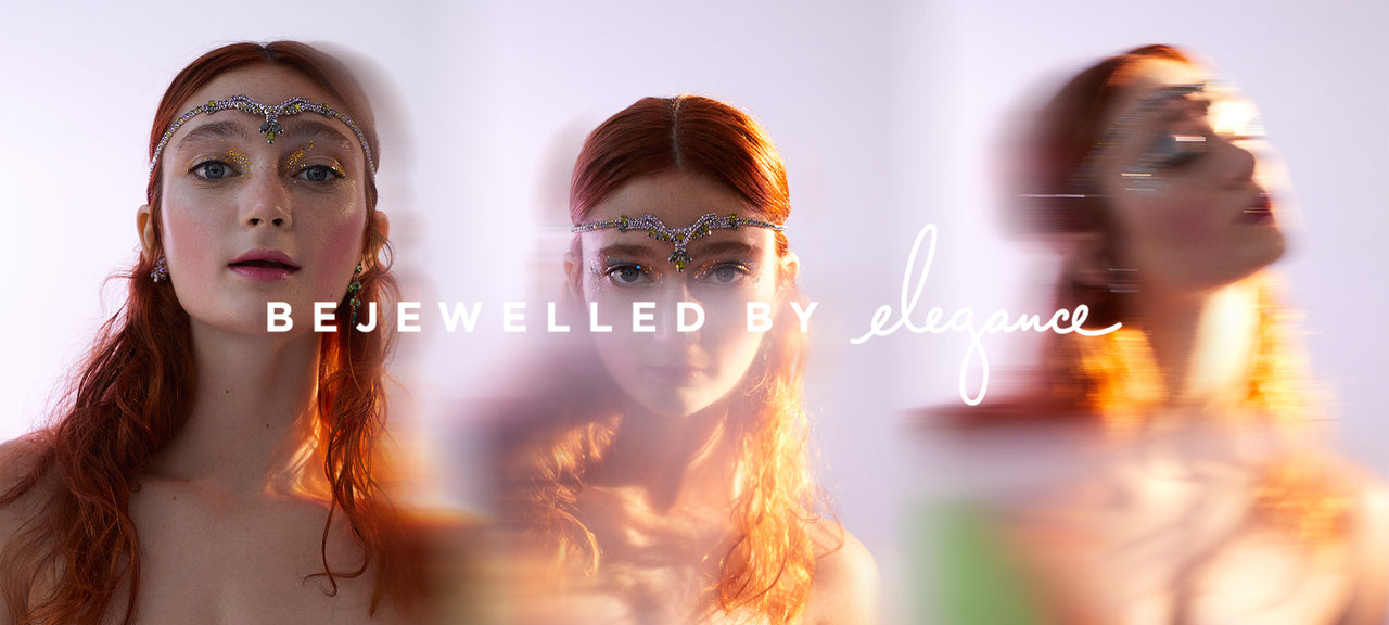 three images of redhead girl wearing costume jewelry