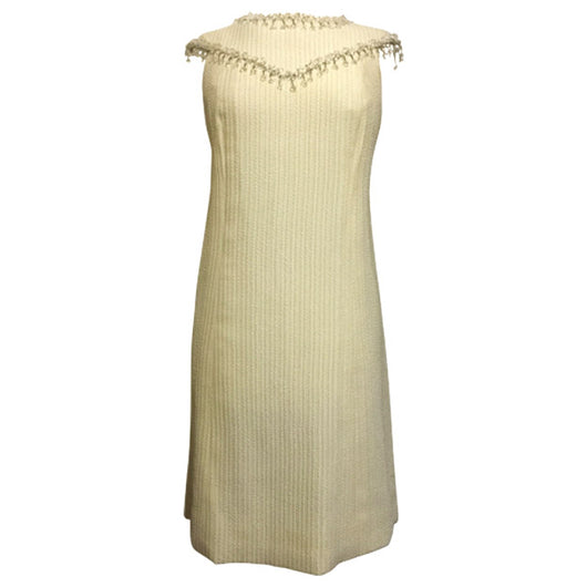 Frank Usher 1960s vintage cream crystal-fringed shift dress - Vintage Clothing, Vintage Stock, Vintage Dresses, Vintage Shoes UK