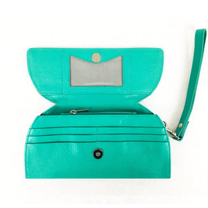 RFID Blocking Clutch - Rogue Industries - Ostrich Print Teal Open